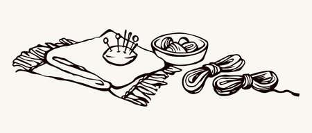 Outline black drawn skill cotton fiber spool sharp steel metal patch pad object kit set emblem design retro artist cartoon doodle line sketch style. Close up atelie view white text space backdrop