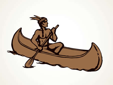 Aztec male leisure drift on white pond text space. Outline black hand drawn ethnic west usa red apache human maya oarsman outdoor . Pictogram emblem label design in retro art doodle cartoon style