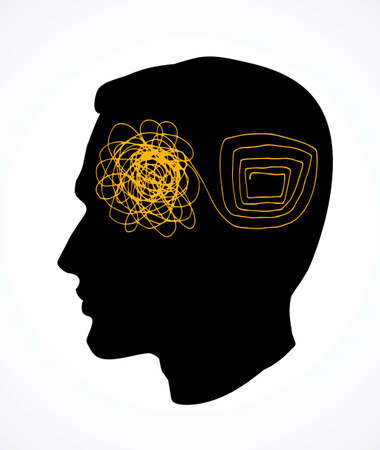 Unravel chaotic clutter puzzle maze confuse knot decise disorder theory job way. Black male face rational clear explain arrange path work idea sign icon abstract art doodle drawn vector graphic style Vecteurs