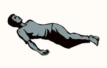 Unwell sleepy sad faint victim boy body relief dream slumber. Outline black hand drawn adult lazy worker guy health leisure drunkard lifestyle symbol. Retro white line art work cartoon character style Vector Illustration