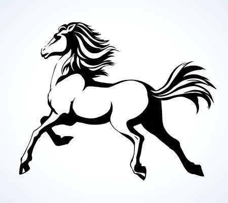 Gorgeous pride white courser smartly rear up on ranch race paddock. Freehand outline black ink pen hand drawn andalusian ride beast logo emblem pictogram design. Art doodle retro paper cartoon style Logo