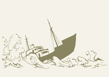 Ancient wood rusty big frigate bottom mast remain on white sky text space. Outline black hand drawn deep maritime sink wind problem galleon sign icon sketch in art retro doodle cartoon line style
