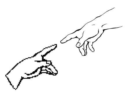 Modern vintage dot male god pixel arm cursor help click point work data idea e pc sketch line vector art style. Social media electron net religion life link render industry corporate evolution reality