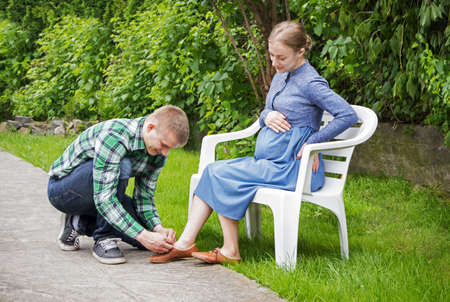 Cute 2 fun happy smile emotion teenag guy partner face expect leave boy son kid mum feel scene concept. Adult health hand mommy lady well look summer day grass yard garden bench scenic view text space