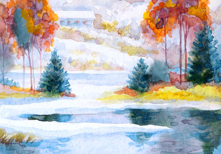 Hand drawn paint artwork cool new year fog cloudy day scene. Light white paper card backdrop retro style. Bright color old spruce bush forest icy cold frozen calm pond creek shore outdoor scenic view 免版税图像