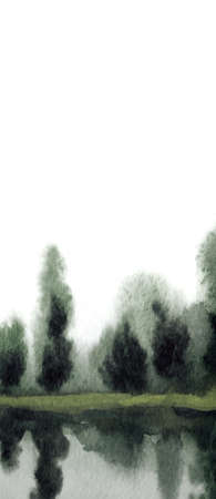 Hand drawn bright watercolor artwork ink paint sketch fog brook bay paper backdrop text space. Light gray color cloudy heaven dark calm rural meadow shrub plant reflect fall mist smoke sea scene view