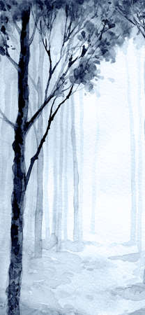 Hand drawn artist watercolor light haze paper card text space backdrop. Black color paint frost red brush style cool foggy rural bush shrub scenic view. Calm old twig fade yard artwork sketch scene