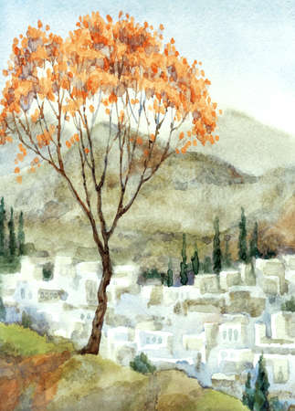 Past valley land ancient Arabia Africa rock country season sky hand drawn scene picture vintage artist graphic sketch style. Antiqu asian travel field red fall plant rural place jew biblic scenic view