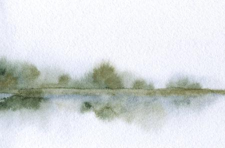 Hand drawn bright artwork paint quiet heaven sketch paper backdrop text space. Light gray color calm dusk dark rural hill swamp creek bay field shrub plant reflect fall smoke haze ocean sea scene view