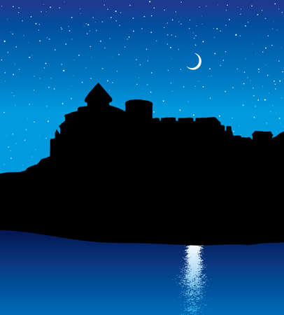 Arabian famous high stone mansion citadel wall ruin hill scenic country view. Kingdom garden park water scene picture. Retro history asian art cartoon draw style. Blue starry sky text space backdrop