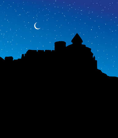 Arabian classic famous high stone mansion wall ruin hill scenic country view. Past summer kingdom garden park scene picture. Retro asian art cartoon style. Blue spring starry sky text space backdrop