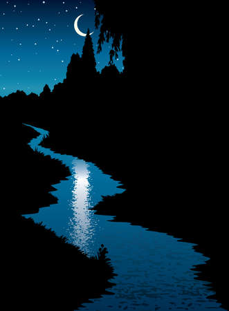 Calm old rural village brook rivulet surface riverside bank path cartoon picture art style. Quiet hill grass field meadow bush plant leaf foliage view light blue starry glow heaven text space backdrop