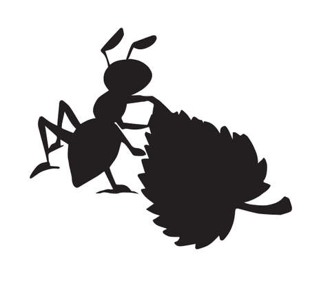 Big dark arachnid Formicidae tree anthill pest outline ink pen hand drawn smile emblem design. Doodle retro art kid comic contour print style Close up detail micro view light paper text space backdrop 矢量图像