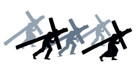 Antique lord savior bear big hard crucif soul suffer win go road logo white sky text space. Line Sin crucis pray icon black drawn historic biblic love hope spirit retro ancient vintage art print style