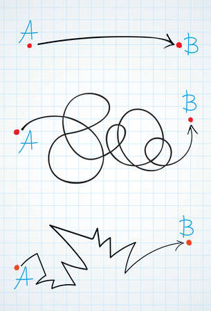 Find easy simple map walk move track way white paper text space view. Black ink marker pen hand drawn hard long guide solve letter flat pictogram sketch design in modern art doodle cartoon style