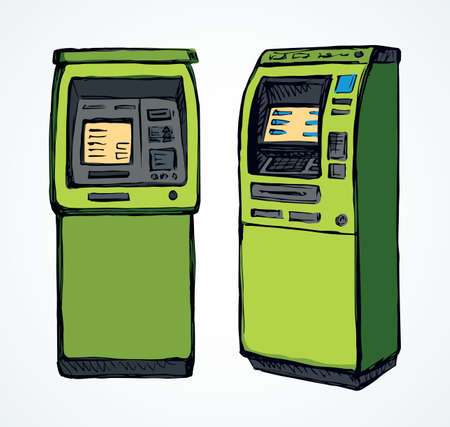 Web line store loan display bancomat kiosk pin code keypad teller device on white paper. Green color hand drawn earn dollar bill salary monitor keyboard sign icon concept in graphic cartoon style