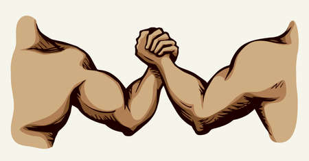 Line 2 human friend finger team compete win on white text space. Outline black ink hand drawn rival match vs meet pictogram emblem design in vintage art doodle cartoon print style. Closeup view