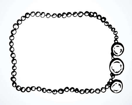 Outline black ink hand drawn abstract holy rough hippy tribal islam girl gold chaplet ring souvenir object element logo design modern art doodle cartoon style. Close up view white text space backdrop