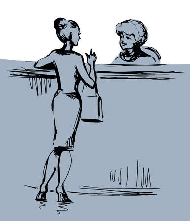 Adult human clerk visit bank book register checkout staff black line hand draw flat symbol concept cartoon art sketch graphic style. Greet airport trip motel card table view indoor white room interior Illustration