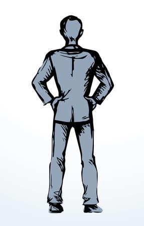Modern closeup cool slim waist tall happy trendy casual fashion teen boy model. Outline black ink drawn full length joy old big human  emblem retro art doodle line style white text space backdrop