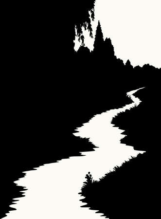 Calm evening sunset brook rivulet reed bank  way scene dark black ink outline contour hand drawn picture art retro vintage style. Quiet grass bush shrub plant dusk night view white text space backdrop