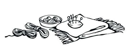 Outline black drawn skill cotton fiber spool sharp steel metal patch pad object kit set logo emblem design retro artist cartoon doodle line sketch style. Close up atelie view white text space backdrop
