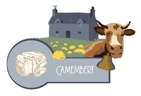 Vector image cow on the background of an old French house with a lawn and cow cheese Camembert