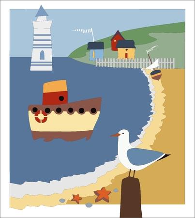 seashore, lighthouse, boat mooring, seagull, small houses on the mountain