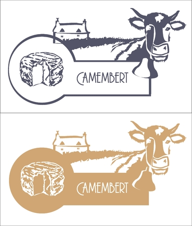 Vector image Camembert, cow and farm in blue and beige color Ilustração