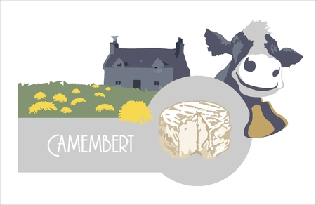 Vector image label cheese Camembert, cow and farm