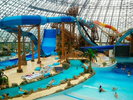Water attractions under the dome in the  water park , recreation and entertainment