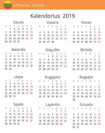 Calendar 2019 year for Lithuania country. Lithuanian language. In a portrait format with red weekends. Week starts on Monday Illustration