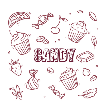 pastry design candy cupcake menu hand draw sketch background