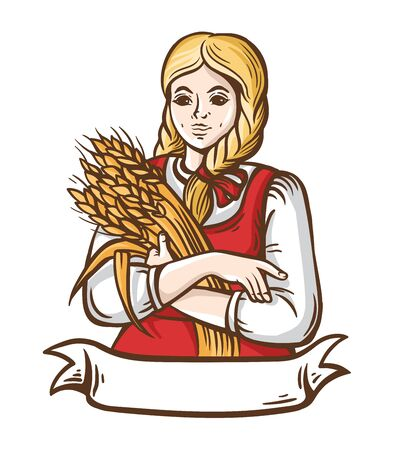 Girl farmer with the wheat. Character is the beautiful blonde. House brend. Bakery shop