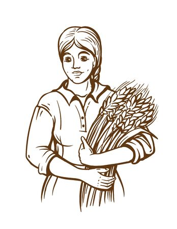 A woman in a dress holds a sheaf of fresh wheat. Hand draw. Farm theme. Sketch illustration