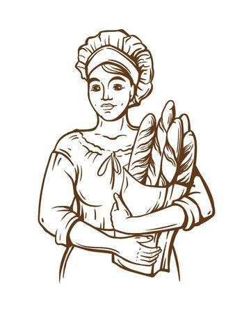Woman cook hold a paket of fresh bread. Hand draw. Bakery shop. Sketch illustration Standard-Bild - 133429851