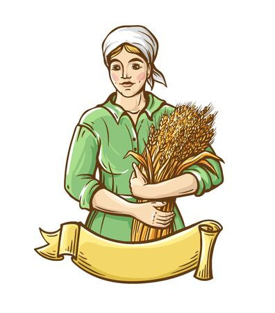 A woman in a dress holds a sheaf of fresh wheat. Hand draw. Farm theme. Color illustration. Illustration