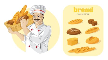 Basket of fresh delicious bread. Bakery shop. Color vector illustration. Standard-Bild - 133429847
