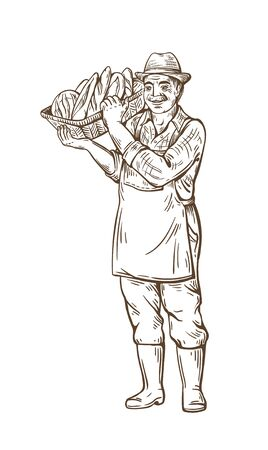 Farmer man with a basket of bread. In a hat, boots and shirt. Rural portrait. Harvesting. Bakery shop. Natural products. Standard-Bild - 133429849