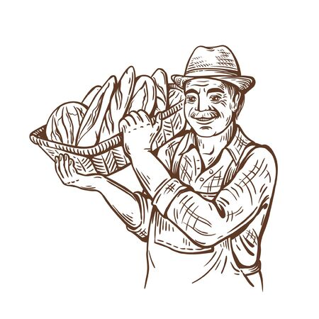 Farm man with a basket of bread. In a hat and shirt. Rural portrait. Harvesting. Baking shop. Natural products. Illustration