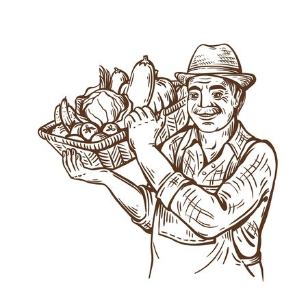 Farm man with basket of vegetables in hat. Rural portrait. Harvesting. ecological product store. Natural vegetables. Illustration