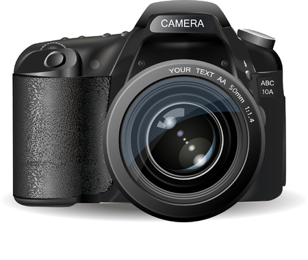 Professionele SLR camera, fototoestel Stock Illustratie