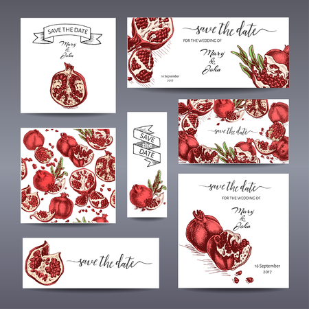 Vector iilustration Banner for Eco store. Colorful pomegranate card.