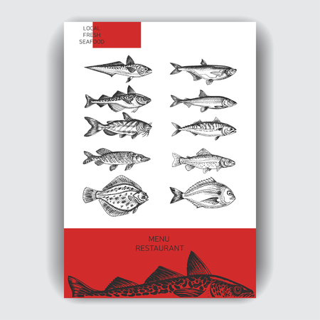 Vector illustration sketch sea food. Restaurant menu. 向量圖像
