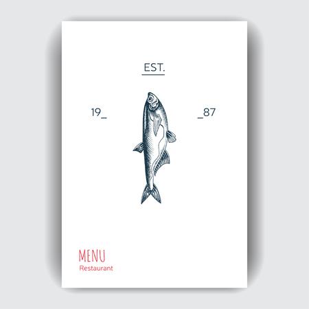 Vector illustration sketch sea food. Restaurant menu. Ilustração