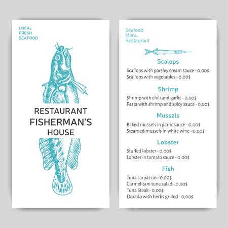 Vector illustration sketch sea food. Restaurant menu. Ilustrace