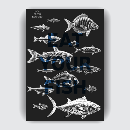 Vector illustration sketch sea food. 向量圖像