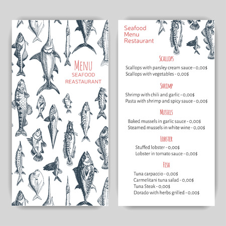 Vector illustration sketch - seafood. Card Menu restaurant.