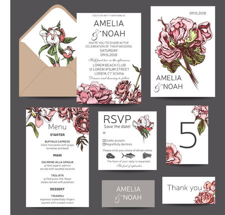 Vector illustration sketch - card with flowers chrysanthemum, peony. Wedding invitation with flower. Dahlias, Ruscus, Viburnum. 向量圖像