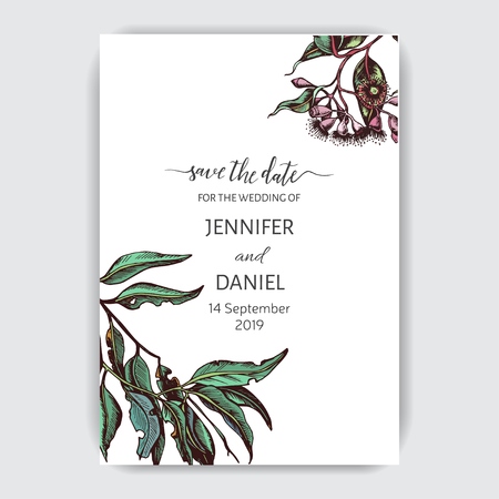 Hand drawn wedding illustration eucalyptus, succulent flowers.